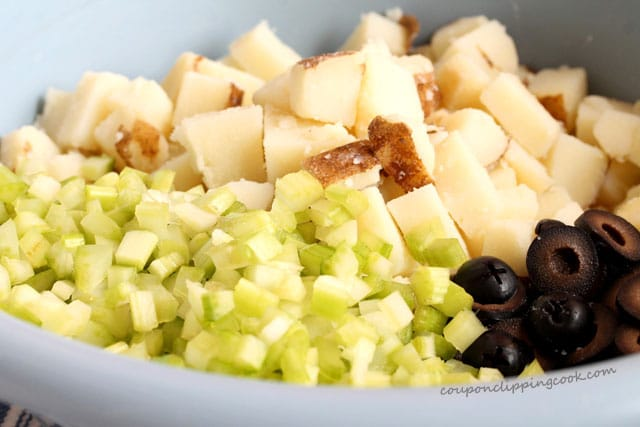 Celery and potatoes in bowl
