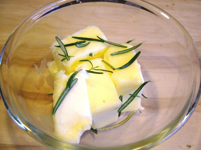 Butter and Rosemary in Bowl