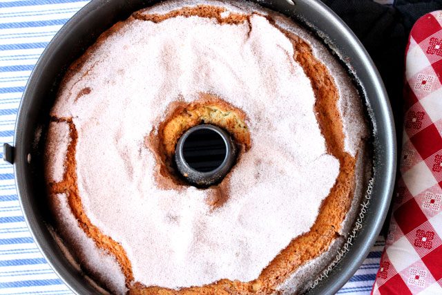 Sour Cream Coffee Cake in pan