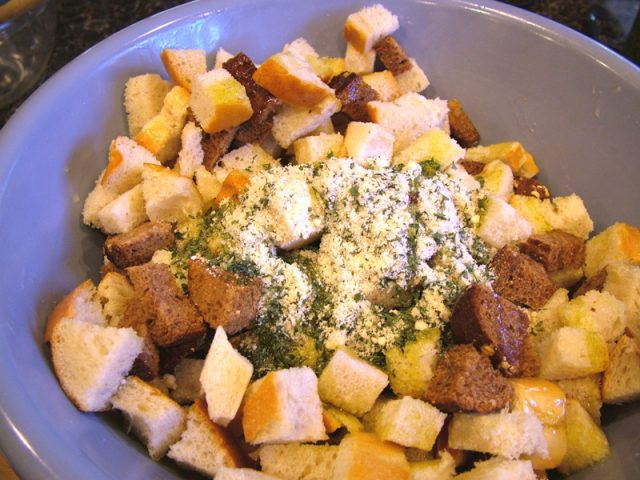 Croutons with Parmesan Cheese