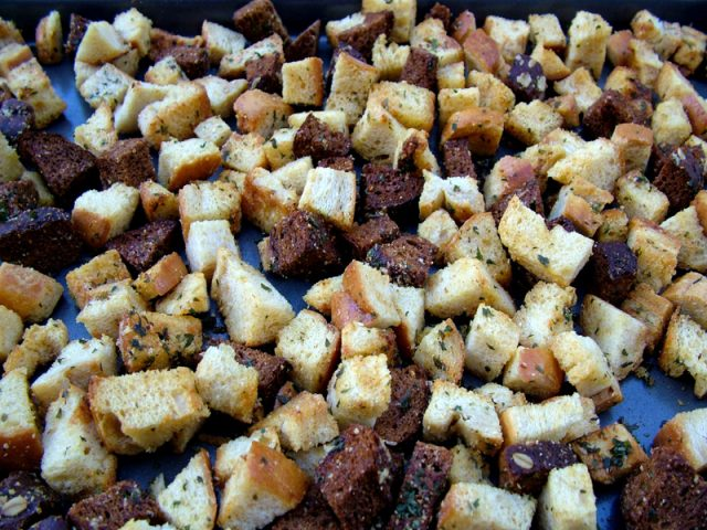 Baked Croutons on Pan