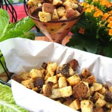 Rosemary Croutons in Bowl