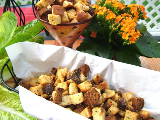 Rosemary Croutons in Basket
