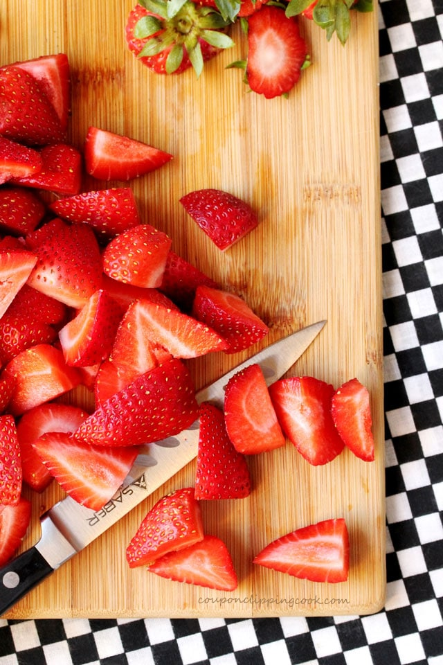 Cut Strawberries on Board