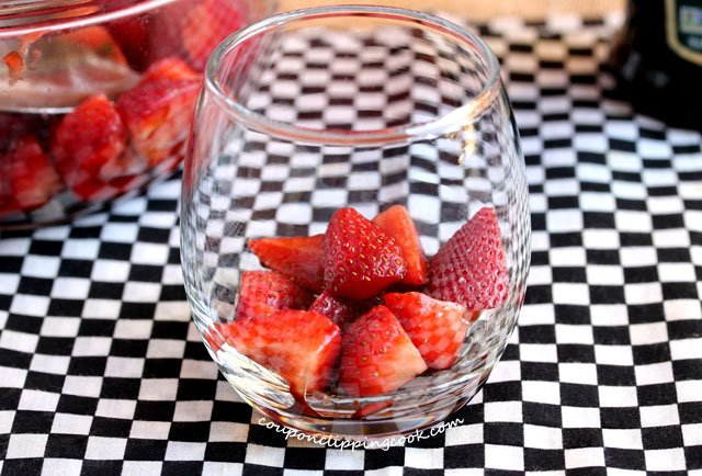 Marinated strawberries in glass