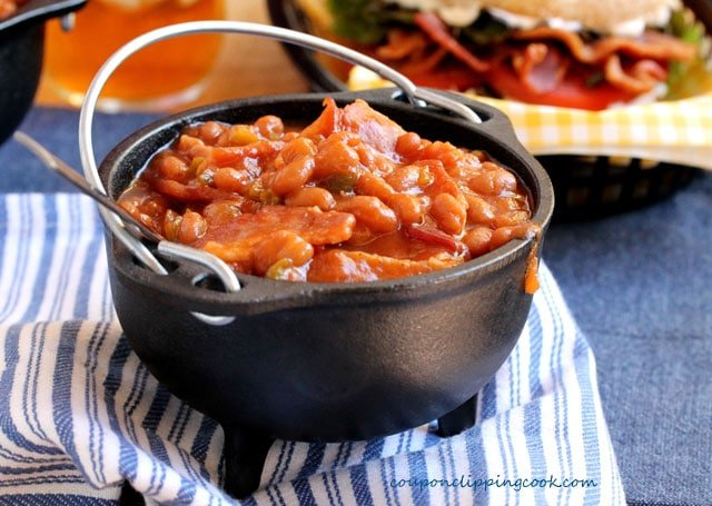 Baked Beans with Bacon in Bowl