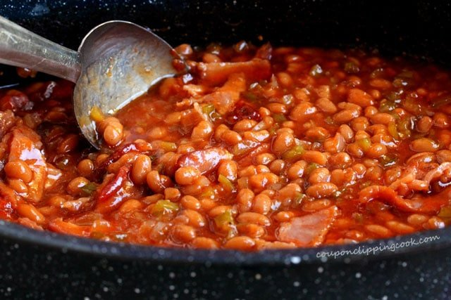 Stir bacon and baked beans