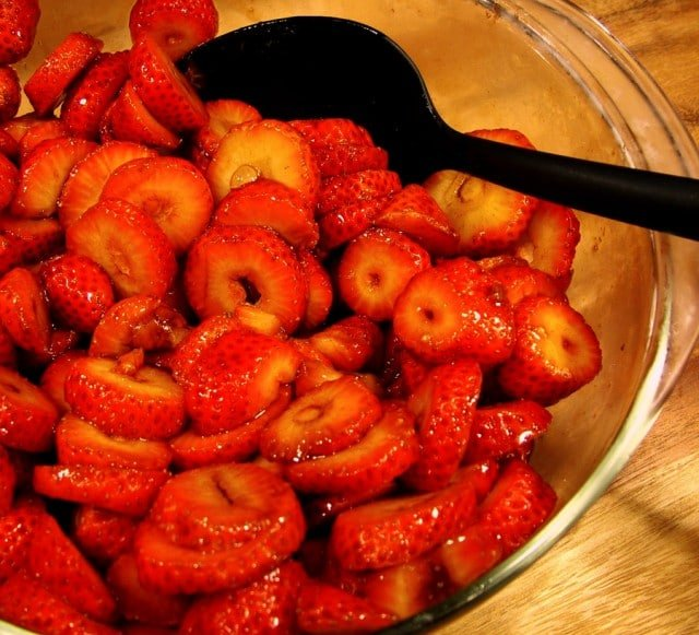 Sliced Strawberries in Bowl