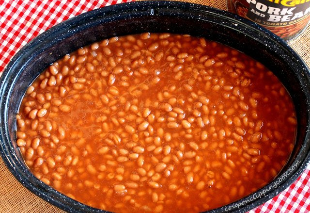 Canned beans in roaster pan