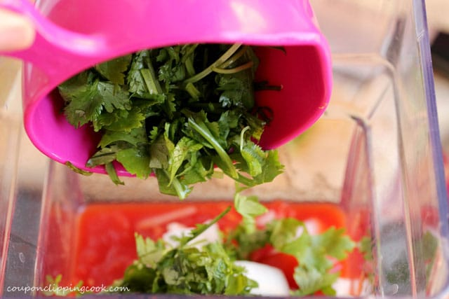 Add cilantro to blender