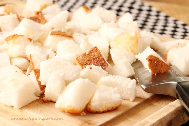 Cut pieces of angel food cake