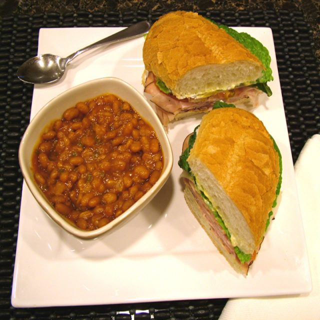 Baked Beans and Sandwich
