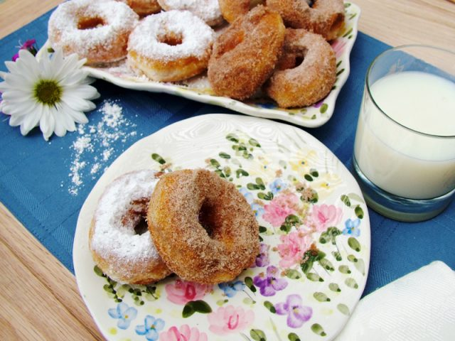 Cinnamon and Sugar Doughnuts on plate