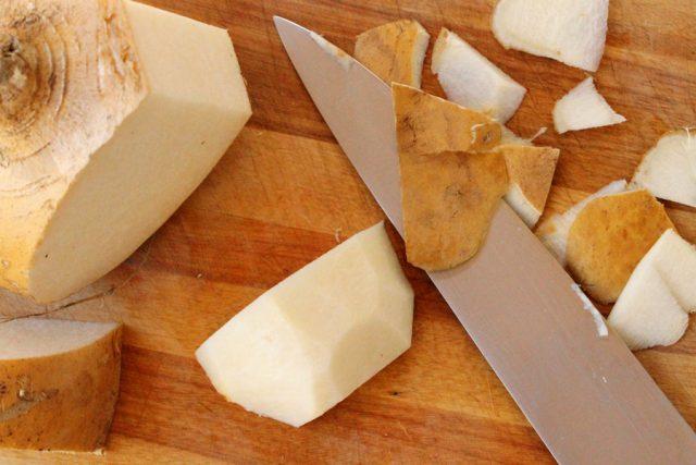 Peel Jicama on cutting board