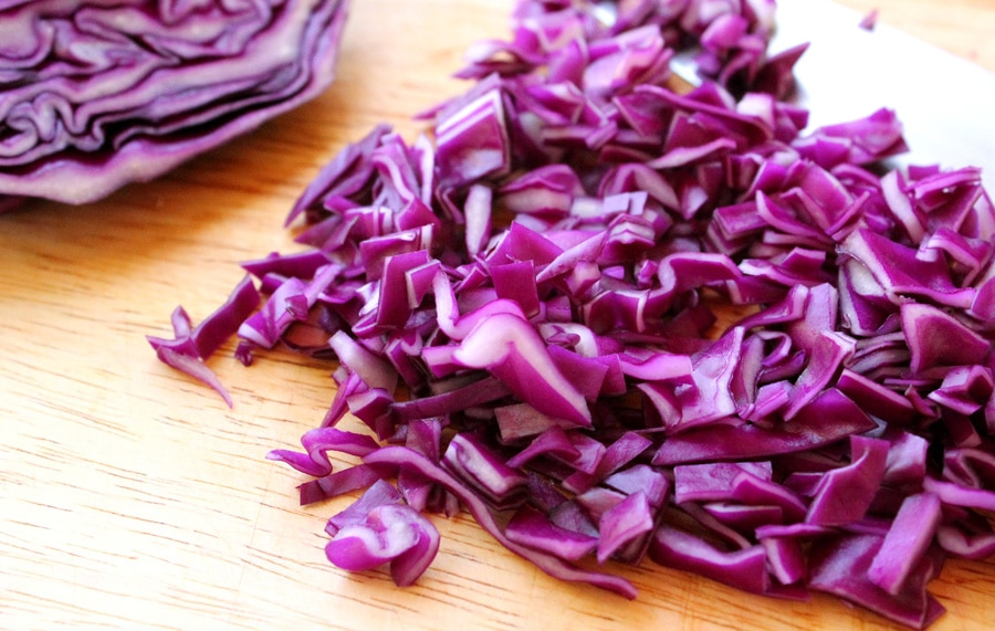 11 cut red cabbage
