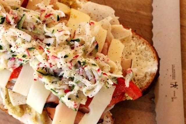 Slaw on Sandwich