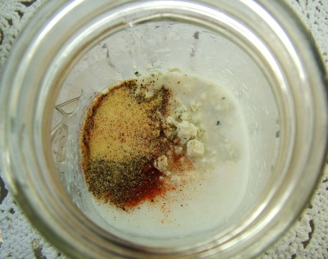 Spices and Blue Cheese in Jar