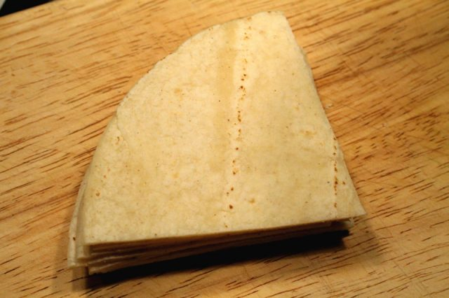 Cut Corn Tortillas on board
