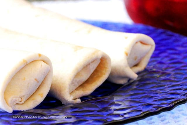 Rolled tortillas with cherry filling