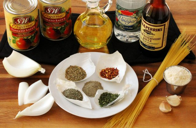 Marinara and Pasta Ingredients