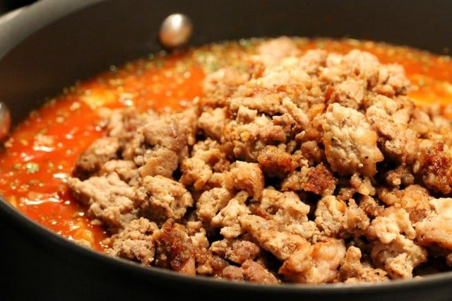 Ground Meat in Spaghetti Sauce