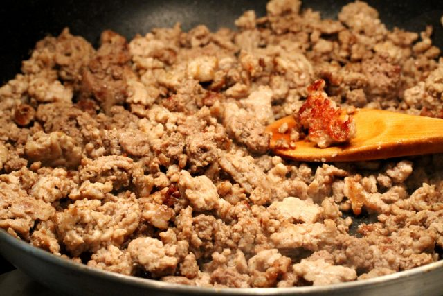 Cooked Ground Meat in skillet