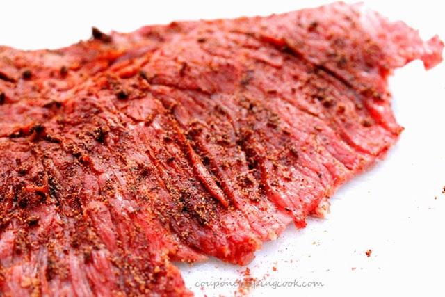 Seasoned flap meat on plate