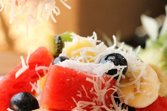 Shredded Coconut on Fruit Salad