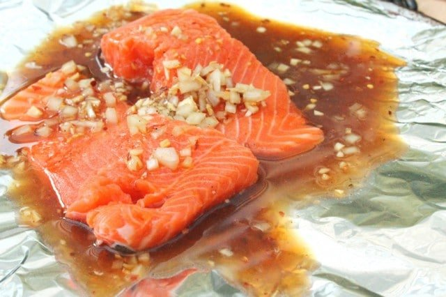 Salmon and Marinade on Foil