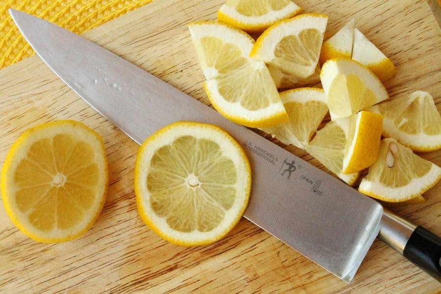 Then quarter each of the lemon Quarter Lemon