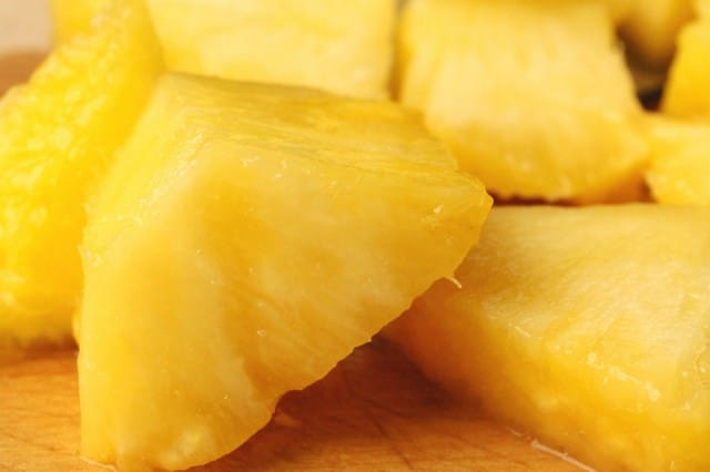 Cut Chunks of Fresh Pineapple