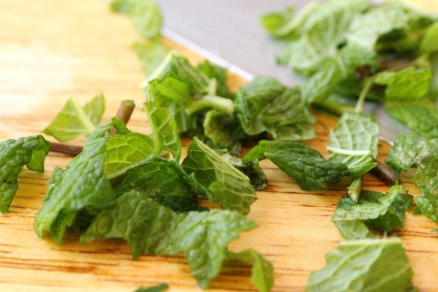 Chopped Fresh Mint on cutting board