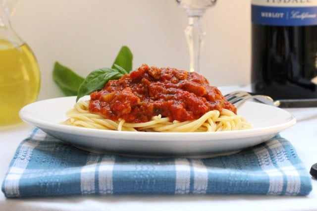 Spaghetti Sauce and Pasta on Plate