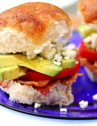 Peppered Bacon, Avocado and Blue Cheese Sliders
