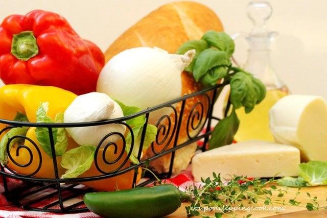 Vegetable Garlic Bread Ingredients
