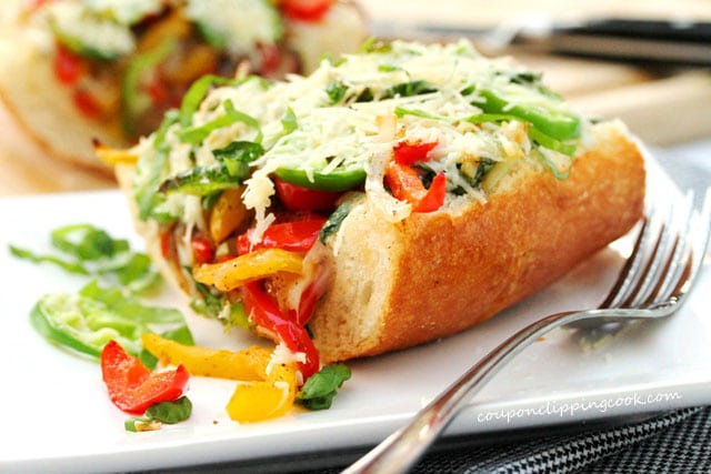 Garlic Bread filled with Cooked Vegetables