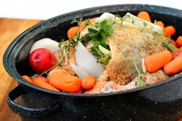 Whole Chicken and Vegetables in Pan