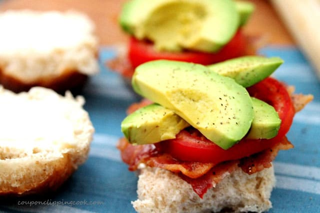 Avocado Slices and Bacon on Roll
