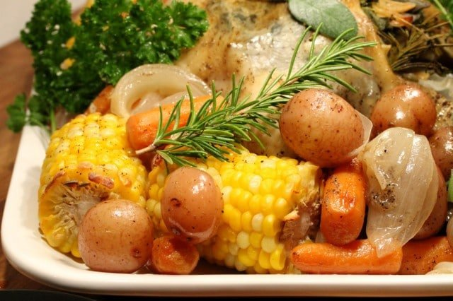Vegetables and Corn in Pan