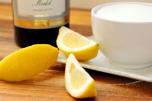 Wine Lemon and Sugar on Plate