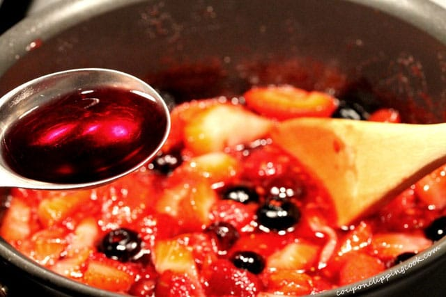 Adding Wine to Berries in Pan