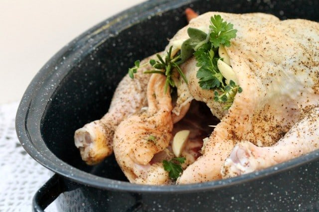 Whole Chicken in Pan