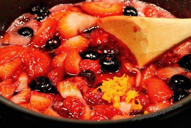 Orange Zest with Berries in Pan