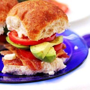 Bacon Avocado Blue Cheese Sliders