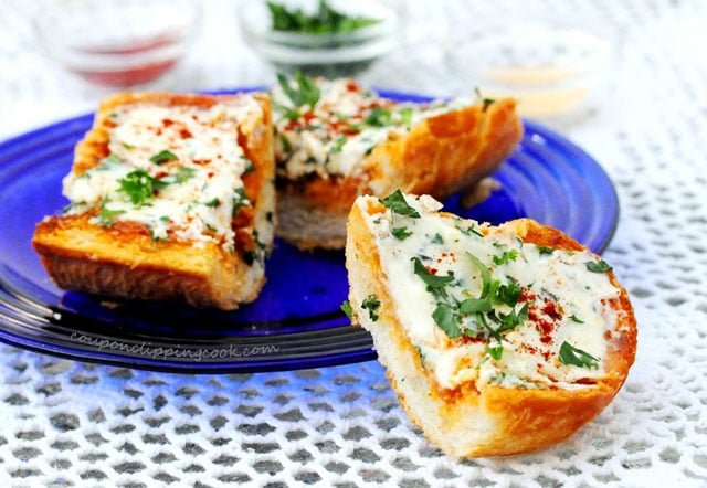 Cream Cheese Garlic Bread on plate