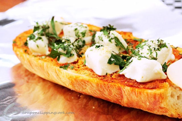 Cream cheese garlic bread on foil