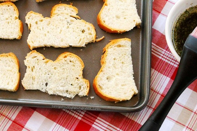 Sliced French Bread on Pan