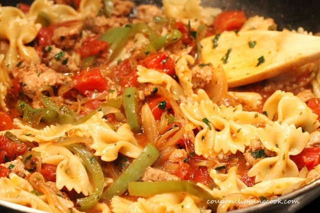 Bow tie pasta in one skillet meal