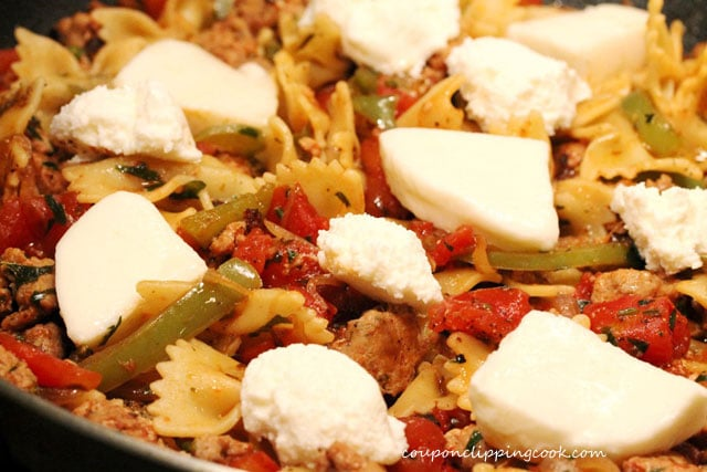 Cheese in bow tie pasta one skillet meal