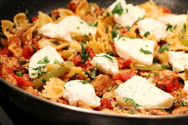 Bow tie pasta one skillet meal in pan
